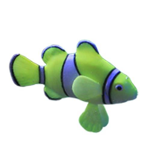 Fish Falsa Simulación Artificial Pez Payaso Peces Fluorescentes Acuario Color del Acuario Decoración Que Brilla Adorno De Plástico Blando De Silicona: ...