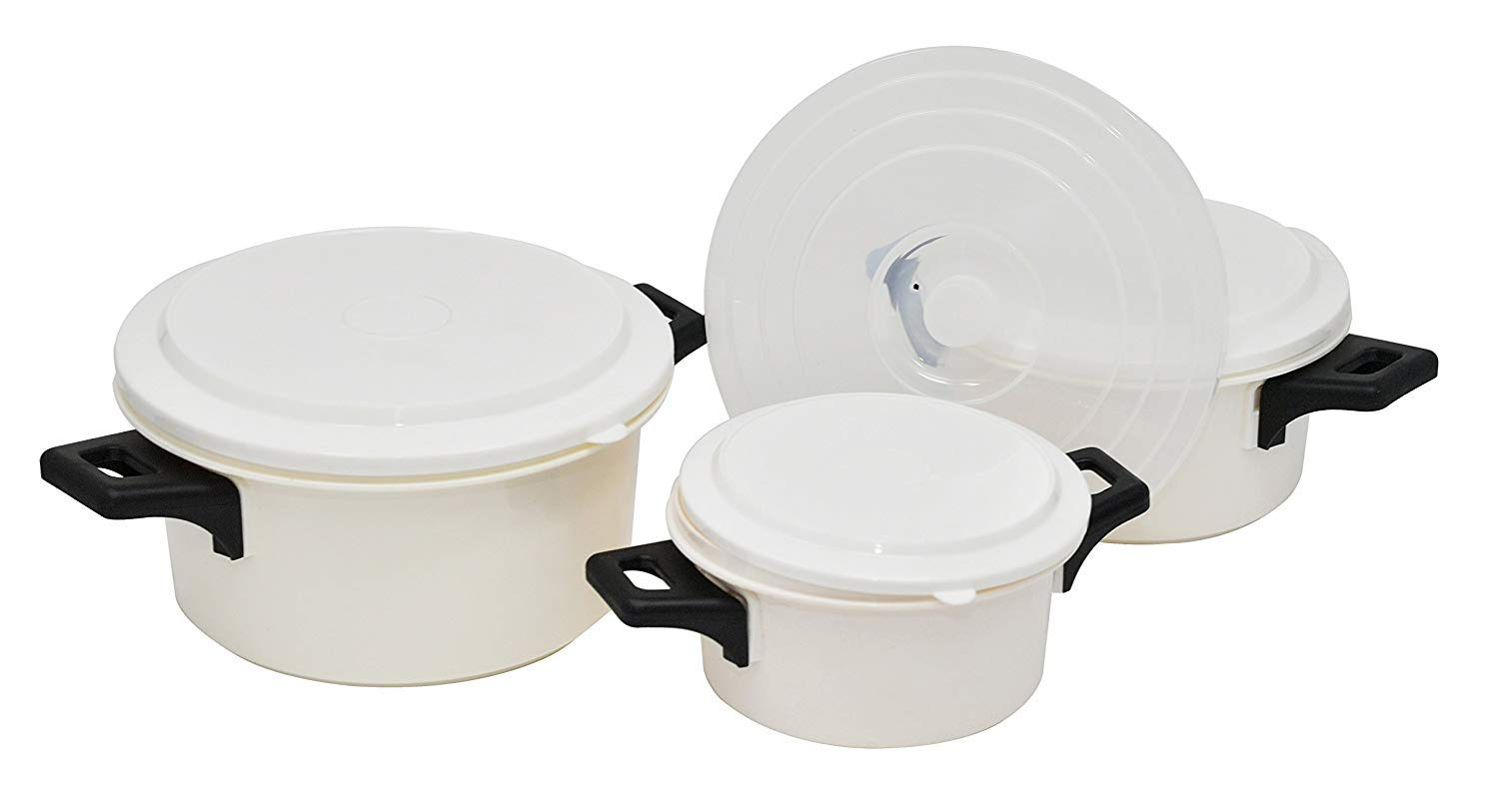 7 Piece Microwave Cooking Pot Set with Handles | 3 Pots, 3 Lids and 1 Universal Vented Lid - by Home-X
