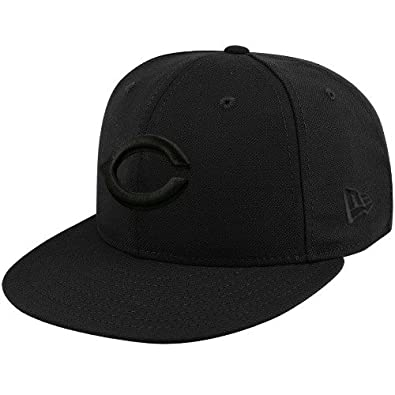 2dc8878bb1e Image Unavailable. Image not available for. Color  New Era Cincinnati Reds  59FIFTY Black on Black Fitted Hat