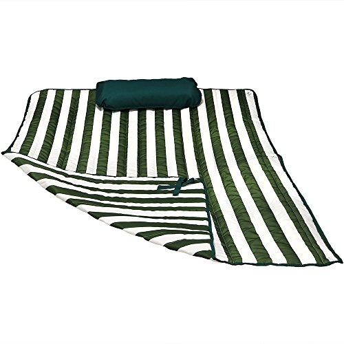 (Sunnydaze Polyester Quilted Hammock Pad and Pillow Set Only, Outdoor Weather-Resistant, Green/White Stripe)