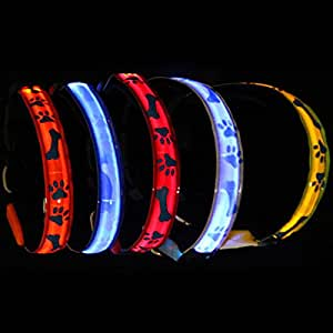 Pink Lizard Night Safety Dog Collar Waterproof Bone LED Pet Flashing Collar
