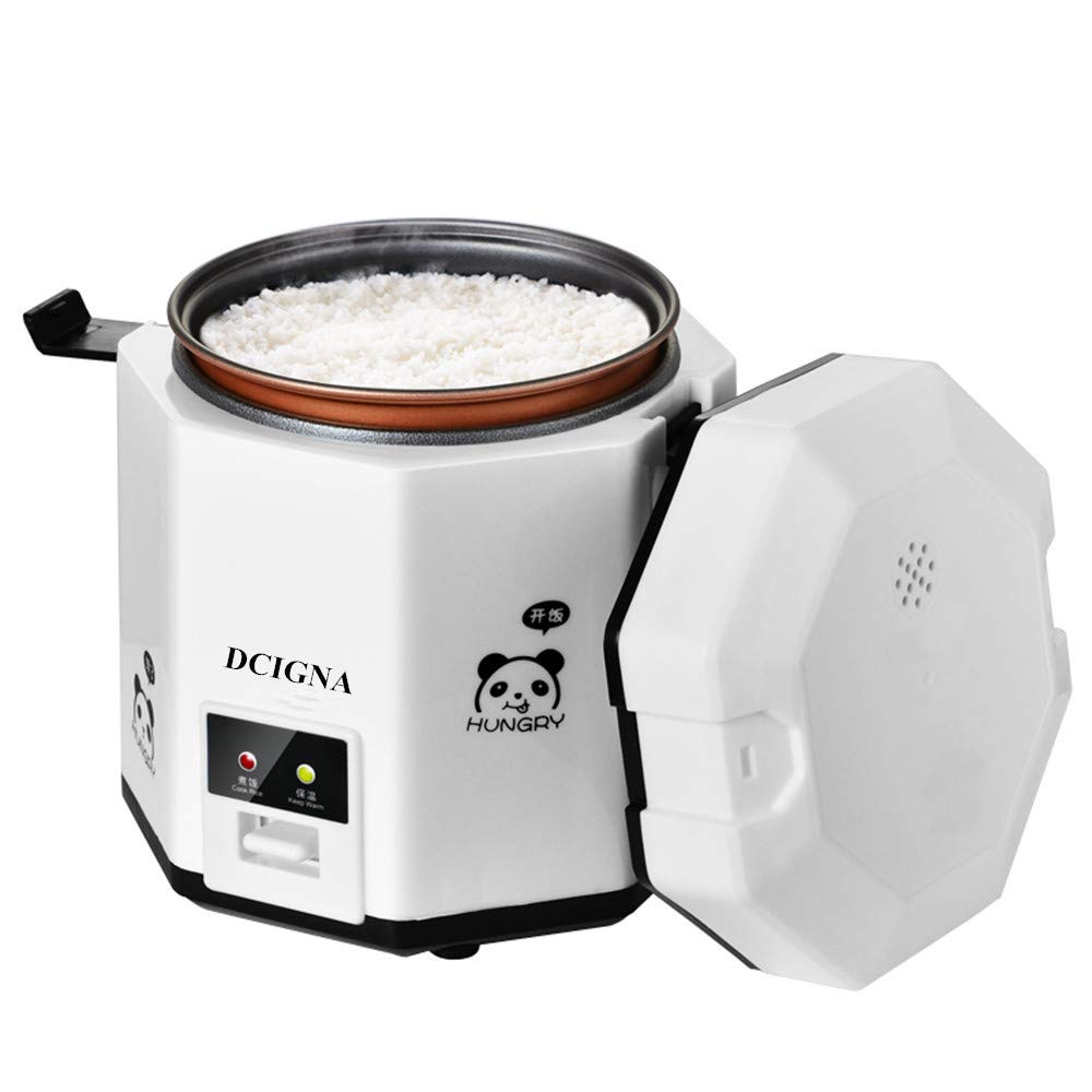 DCIGNA 1.2L Mini Rice Cooker, Electric Lunch Box, Travel Rice Cooker Small, Removable Non-stick Pot, Keep Warm Function, Suitable For 1-2 People - For Cooking Soup, Rice, Stews, Grains & Oatmeal (White)