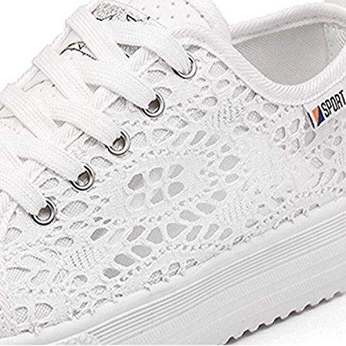 Libre Mujer Lona Planos Blanco Casuales Deportivos Minetom Zapatos de Respirables Zapatos Al de Primavera Zapatos Aire TdqWScPwW