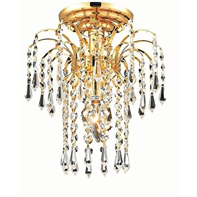 Elegant Lighting 6801F9G/RC Royal Cut Clear Crystal Falls 1-Light, Single-Tier Flush Mount Crystal Chandelier, Finished in Gold with Clear Crystals