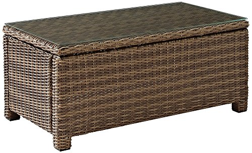 Crosley Furniture Bradenton Outdoor Wicker Conversation Table with Glass Top – Weathered Brown Review