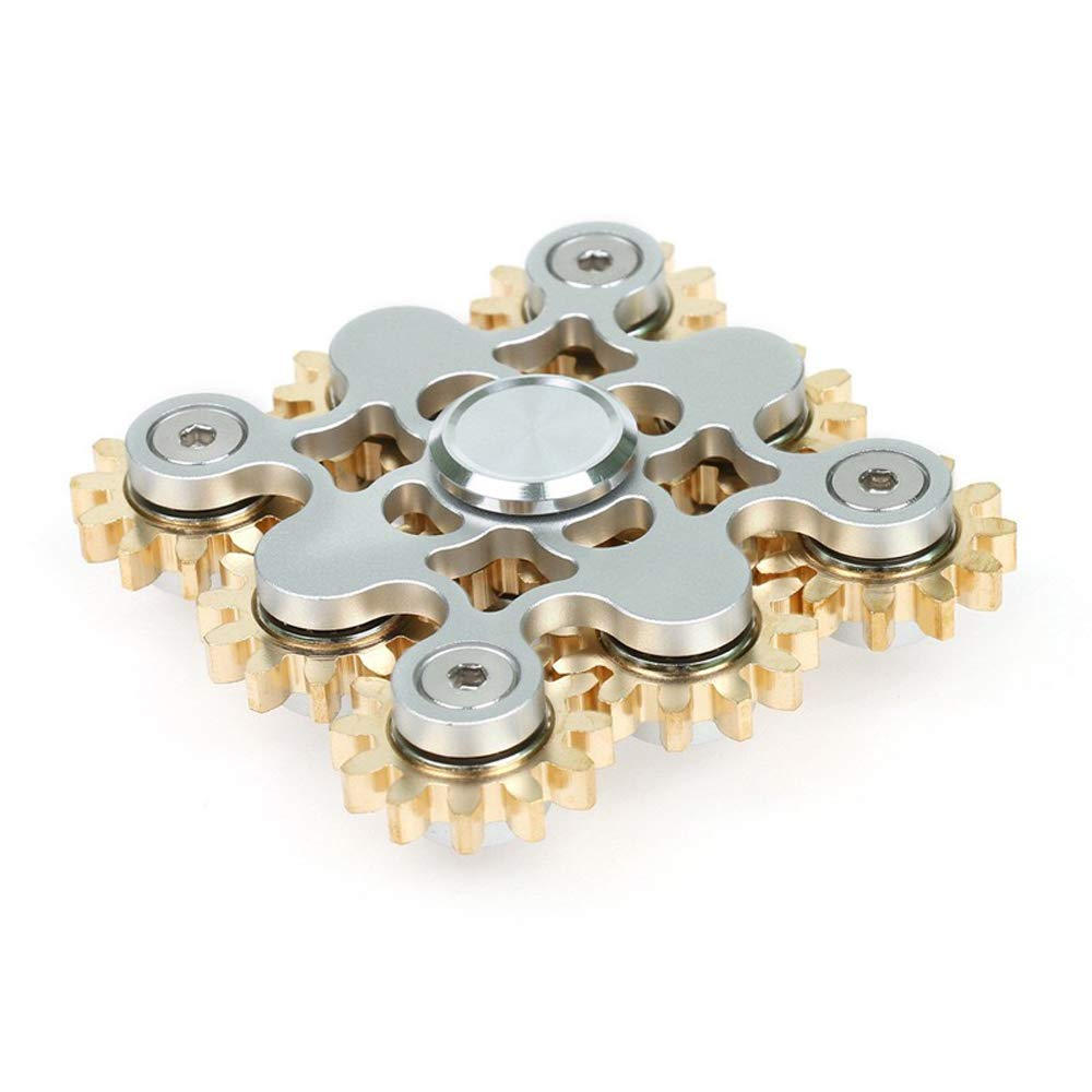 FREELOVE 9 Series Gear Design Pure Copper Brass Fidget Spinner Toy Stress Reducer Premium EDC Industrial Mechinery Disassemble R188 Silent Stainless Steel Bearing Helps Focus (Silver, 9 Series Gear)