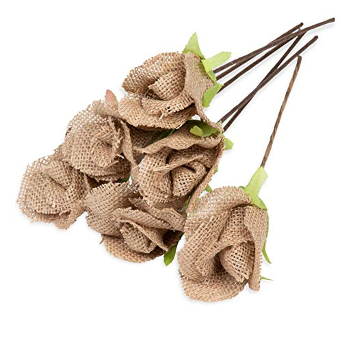 Genie Crafts 6-Count Burlap Rose with Stem, Jute Flower Picks for Flower Arrangements, Wedding, DIY Crafts and Decor, 2.5 x 9.75 Inches]()