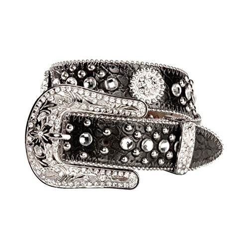 Nocona Girls' Round Rhinestone Concho Belt Black 20
