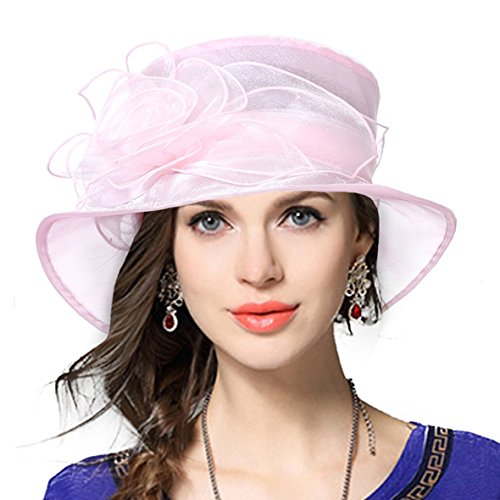 VECRY Lady Derby Dress Church Cloche Hat Bow Bucket Wedding Bowler Hats (Floral-Pink, Medium)