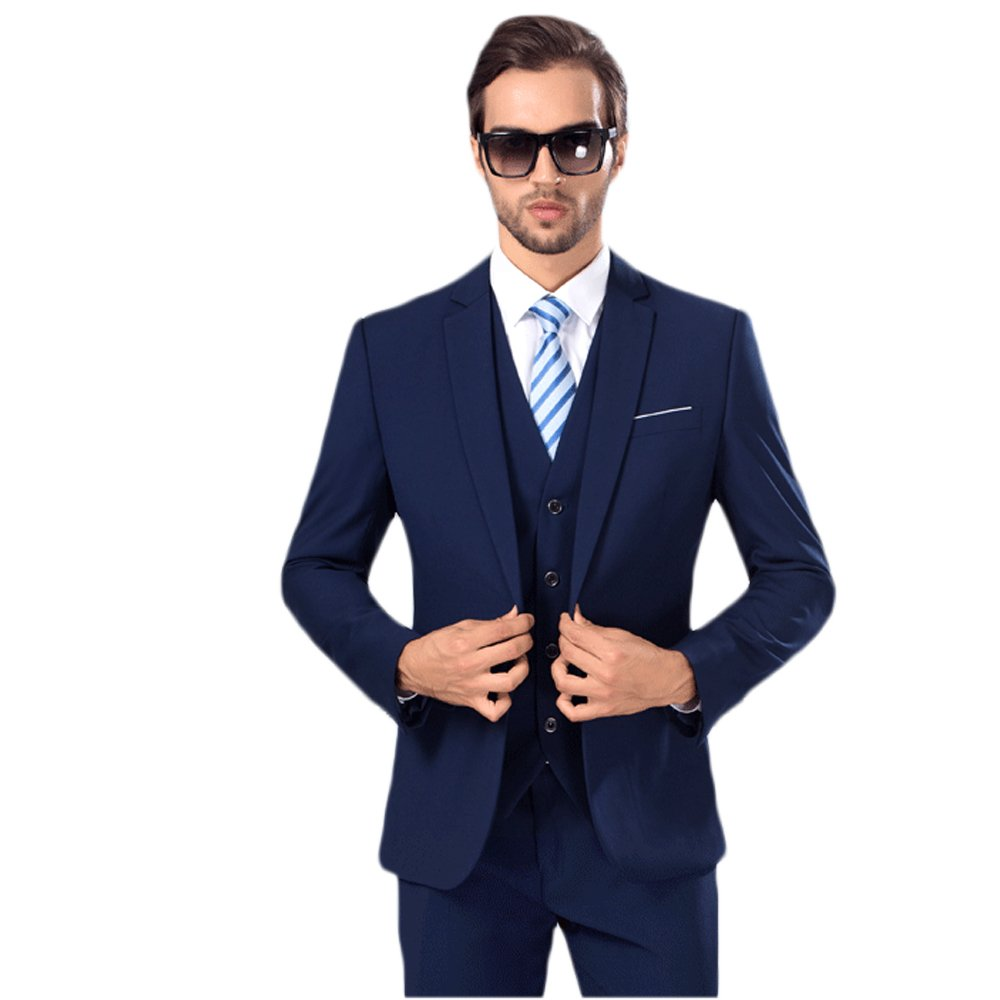 MAGE MALE Mens Solid 3-Piece Suit Slim Fit Notch Lapel One Button Tuxedo Blazer Jacket Pants Vest Set Dark Blue Small
