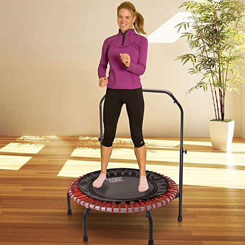 JumpSport 350 | Fitness Trampoline, In-Home Rebounder | Stable Exercise | Safe & Secure | No-Tip Arched Legs | Long Lasting Premium Bungees | Top Rated for Quality & Durability (Red) by JumpSport