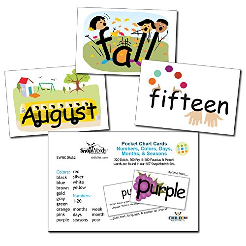 SnapWords Numbers, Colors, Days, Months, and Seasons Pocket Chart Cards - Sight Words -