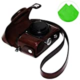 First2savvv XJPT-P7800-10G11 dark brown full body Precise Fit PU leather digital camera case bag cover with shoulder strap for Nikon Coolpix P7700 P7800+ Cleaning cloth