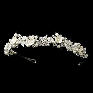 Amazon.com   Maritza Diamond White Resin Flower Pearl   Crystal ... be9b156c114