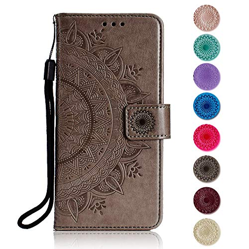 [해외]Huawei Y5 2018 Case The Grafu Leather Case Premium Wallet Case with [Card Slots] [Kickstand Function] Flip Notebook Cover for Huawei Y5 2018 Gray / Huawei Y5 2018 Case, The Grafu Leather Case, Premium Wallet Case with [Card Slots] ...