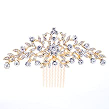 SEPBRIDALS Wedding Bride Rhinestone Crystals Hair Comb Hairpins Accessories FA2944 (Gold)