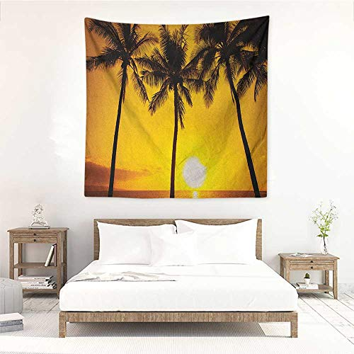 Willsd Tropical Square Tapestry for Living Room Golden Tropical Sunset Coastal Theme Beach Coconut Trees Exotic Vacation Picture Tapestry for Home Decor 63W x 63L INCH Gold Brown
