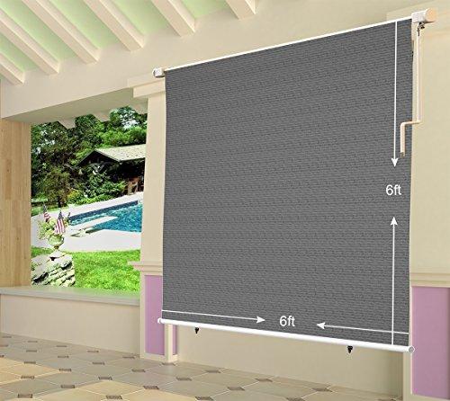 4' Lowering Blocks (Shatex 4x6ft Grey Outdoor Roller Sun Shade Exterior Cordless Roller Shade)