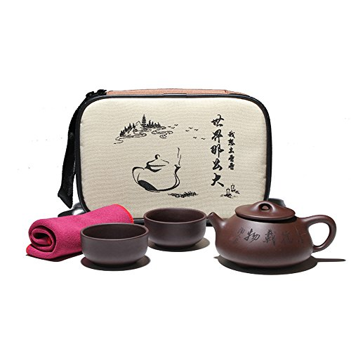 3 Piece Vintage Chinese Style Porcelain Handmade Kung Fu Tea Set Purple Clay Tea Pot Yi Xing Clay , with Bag for Travel, Black