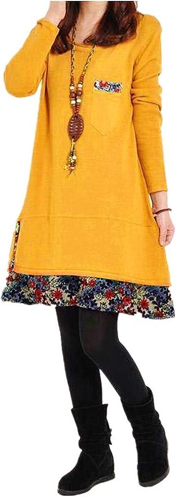 Riou-Vestiti Donna Eleganti Invernali Manica Lunga Casual Solido Abiti con Tasche Ragazza Autunnali Vestito Elegante Corto Invernale Abito Scollo a V Maniche Lunghe Corti Maglietta T-Shirt