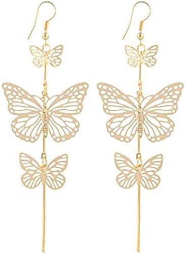Womens Embroidery Butterfly Earrings Long Tassel Crystal Pearl Ear Stud Dangle