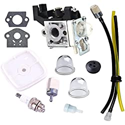 Podoy GT225 Carburetor RB-K93 Carb Fuel Line Kit Primer Bulb for ZAMA ECHO GT225i GT225L PAS225 PE225 PPF225 SRM225 SHC225 SRM225U A021001690 A021001691 Trimmer
