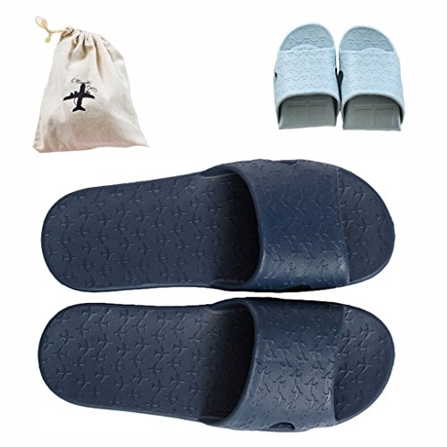 Storage slip House Mule Slip for darkblue Slipper Shoes Slide Foldable a with Free Sandals Shower Trip On Lightweight Non Bathroom Pool Bag Linen 7zZanCq