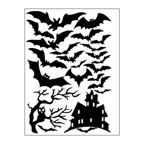 Halloween Window Cling set of Bats a Tree and Haunted House 8 x 11.5 Sheet Black