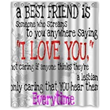 """Special Designed Best Friends Quotes with Aztec Tribal Style Shower Curtains 60"""" X 72"""" Home Decor Bath Curtain Background Perfect as Christmas gift-03"""