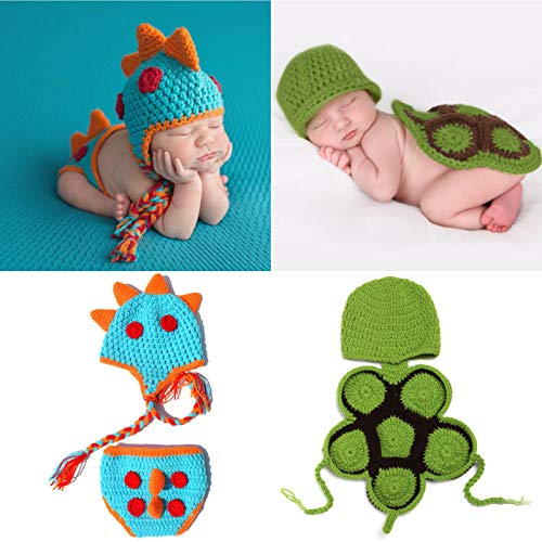 2 Sets Newborn Crochet Outfit for Baby Photography Prop, Handmade Knitted Dinosaur Turtle Halloween Christmas Boys Costume for Infant Twins Gifts (0-12months)
