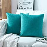 turquoise throw pillow Phantosope Decorative Set of 2 Textural Faux Linen Series Throw Pillow Case Cushion Cover Lake Blue 20 x 20 inches 50 x 50 cm