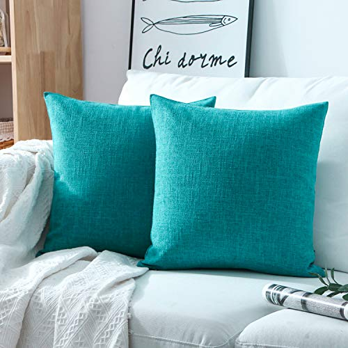 Phantosope Decorative Set of 2 Textural Faux Linen Series Throw Pillow Case Cushion Cover Lake Blue 20 x 20 inches 50 x 50 cm
