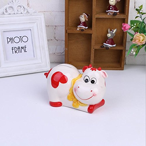 Goodscene Cartoon Piggy Bank Cow Piggy Bank Ceramic Home Decoration Festival Gift (Red) by Goodscene