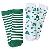 OLABB St. Patrick's Day Baby Toddler knee high socks Shamrock / Clover Green and White Striped Gift Set (M, 1-3 Years)