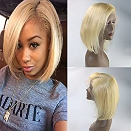 Glueless Full Lace Wigs Brazilian Virgin Human Hair #613 Blonde Short Bob Lace Hair Wig 130% Density Straight Short Cut…