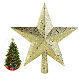 NICEXMAS Christmas Tree Toppers Star Treasures Glittered Decoration Ornament, 4.53 inch (Gold)