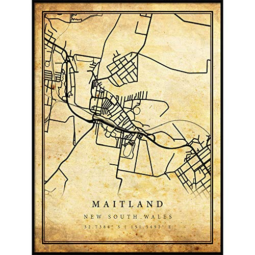 Maitland map Vintage Style Poster Print | Old City Artwork Prints | Antique Style Home Decor | New South Wales Wall Art Gift | map Vintage 8.5x11 ()