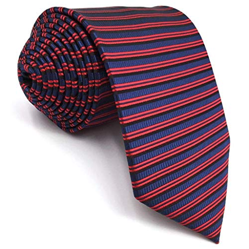 (Shlax&Wing Unique Horizontal Stripes Red Blue Necktie For Men Business Ties XL 57.5