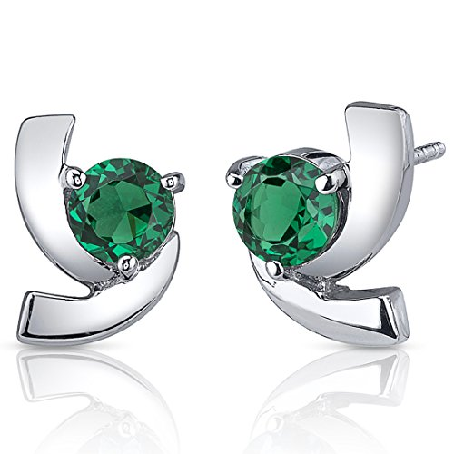 150-Carats-Simulated-Emerald-Round-Cut-Earrings-in-Sterling-Silver