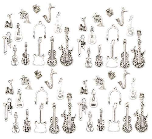 Horn Necklace Accessories Beads Jewelry - Zhiheng Assorted 52pcs Musical Instrument Alloy Pendants Bass Guitar Horn Cello Viola Trumpet Sax Wine Glass Charms Bracelet Necklace Jewelry Making Beads for Birthday Christmas Valentine's Gift