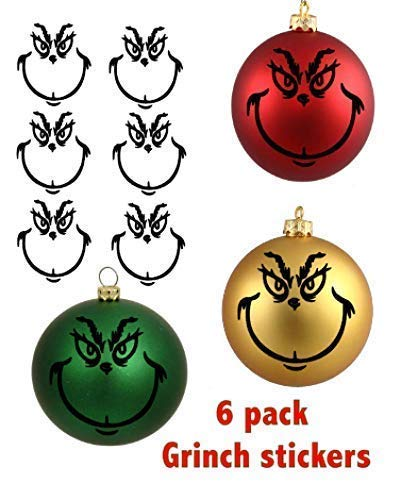 Grinch 6 pack 3 inch each Matte Black Vinyl stickers for Ornaments, Diy, Home project, Christmas, Kids, Fun, Easy, Project, Gift, Boys, Girls, Red, Green, Gold, Black from 1 AMAZING ART
