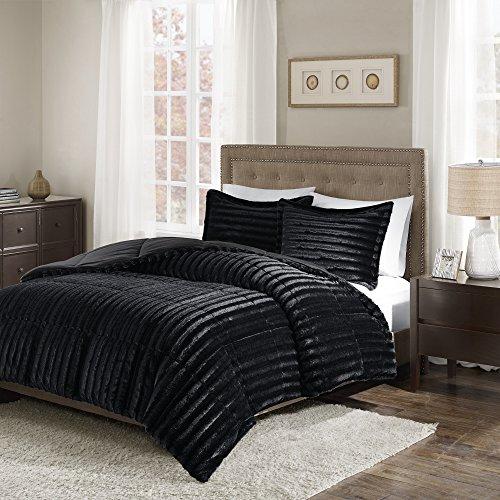 3 Piece Elegant Faux Fur Comforter Set King/Cal King Size, F