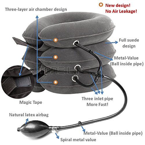 TONELIFE-Cervical-Neck-Traction-Device-Instant-Pain-Relief-for-Chronic-Neck-Effective-Pain-Relieving-Remedy-at-Home-Adjustable-Traction-Collar-Cervical-Pillow--Grey