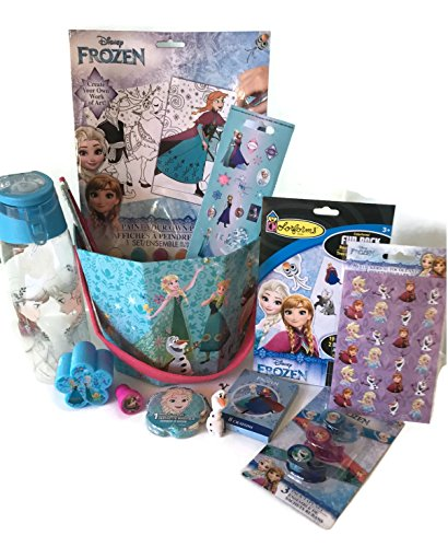 Disney Frozen Gift Basket - Birthday, Holiday, or Get Well Gift Basket with Water Bottle, Stickers, Arts and Crafts for Girls Ages 3-9 (Frozen Basket)