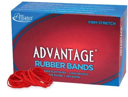 Alliance Rubber 96315 Advantage Rubber Bands Size #31, 1 lb Box Contains Approx. 850 Bands (2 1/2 x 1/8, Red)