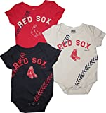 Outerstuff Boston Red Sox 3pc Creeper Set Infant Baby Stitch