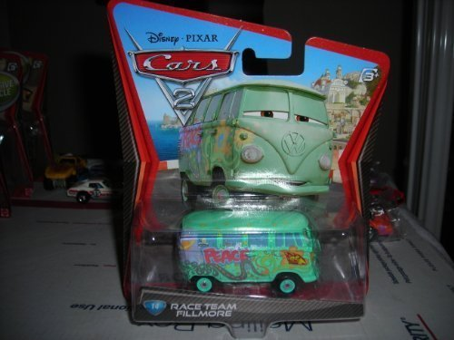 DISNEY PIXAR CARS 2 RACE TEAM FILLMORE #14 VW VOLKSWAGEN BUS DIECAST VHTF NEW 1:55 - Fillmore Vw Bus