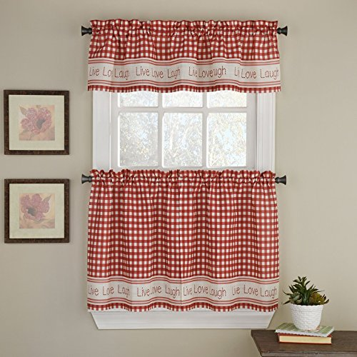 LORRAINE HOME FASHIONS Gingham Stitch Window Curtain Tier, 50