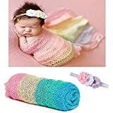 Newborn Baby Photography Props - Long Ripple Wrap Blanket and Lace Beads Headband (Multicoloured)