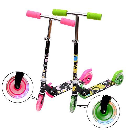Homcom® Alu Scooter Roller Tretroller Wheel 205mm/120mm Cityroller Kinderroller mit Licht 4 Farben zur Auswahl Neu (schwarz-rosa)